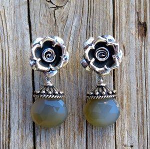 925 Silver Blue Gray Chalcedony Flower Earrings